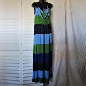 BCBG Maxazria rayon multi color maxi dress medium
